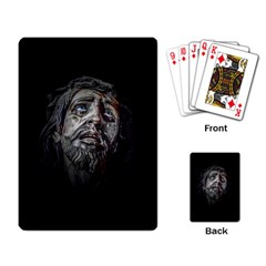 Jesuschrist Face Dark Poster Playing Card by dflcprints