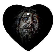 Jesuschrist Face Dark Poster Heart Ornament (two Sides) by dflcprints