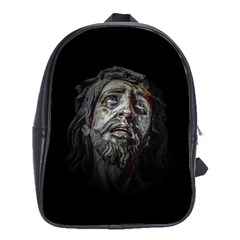 Jesuschrist Face Dark Poster School Bag (large) by dflcprints