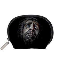Jesuschrist Face Dark Poster Accessory Pouches (small)  by dflcprints