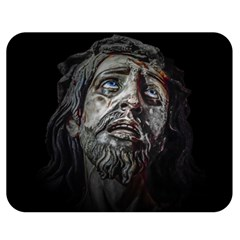 Jesuschrist Face Dark Poster Double Sided Flano Blanket (medium)  by dflcprints
