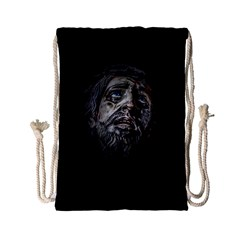 Jesuschrist Face Dark Poster Drawstring Bag (small) by dflcprints
