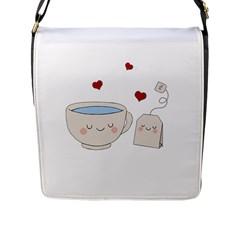 Cute Tea Flap Messenger Bag (l)  by Valentinaart