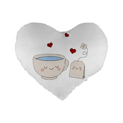 Cute Tea Standard 16  Premium Flano Heart Shape Cushions by Valentinaart