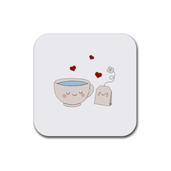 Cute Tea Rubber Coaster (square)  by Valentinaart