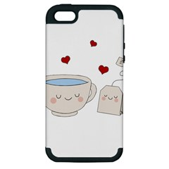 Cute Tea Apple Iphone 5 Hardshell Case (pc+silicone) by Valentinaart