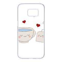 Cute Tea Samsung Galaxy S7 Edge White Seamless Case by Valentinaart