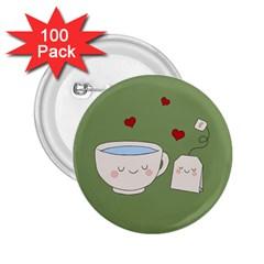 Cute Tea 2 25  Buttons (100 Pack)  by Valentinaart