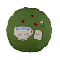 Cute Tea Standard 15  Premium Round Cushions by Valentinaart