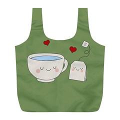 Cute Tea Full Print Recycle Bags (l)  by Valentinaart