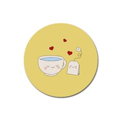 Cute Tea Magnet 3  (round) by Valentinaart