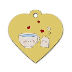 Cute Tea Dog Tag Heart (one Side) by Valentinaart