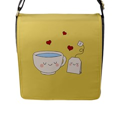 Cute Tea Flap Messenger Bag (l)  by Valentinaart