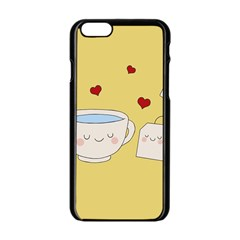 Cute Tea Apple Iphone 6/6s Black Enamel Case by Valentinaart