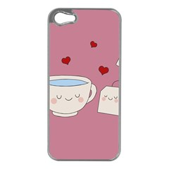 Cute Tea Apple Iphone 5 Case (silver) by Valentinaart