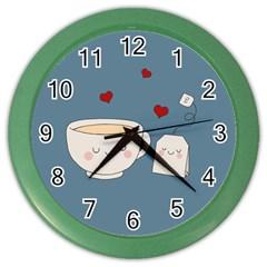 Cute Tea Color Wall Clocks by Valentinaart