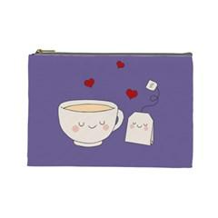 Cute Tea Cosmetic Bag (large)  by Valentinaart
