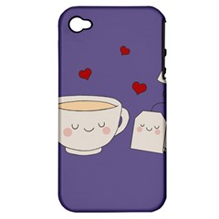 Cute Tea Apple Iphone 4/4s Hardshell Case (pc+silicone) by Valentinaart