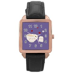 Cute Tea Rose Gold Leather Watch  by Valentinaart