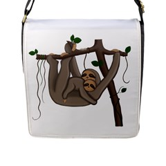 Cute Sloth Flap Messenger Bag (l)  by Valentinaart