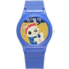 Feminist Cat Round Plastic Sport Watch (s) by Valentinaart