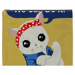 Feminist Cat Cosmetic Bag (xxxl)  by Valentinaart