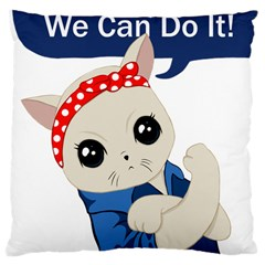 Feminist Cat Large Cushion Case (one Side) by Valentinaart