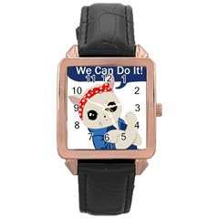 Feminist Cat Rose Gold Leather Watch  by Valentinaart