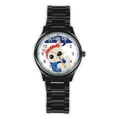 Feminist Cat Stainless Steel Round Watch by Valentinaart