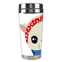 Feminist Cat Stainless Steel Travel Tumblers by Valentinaart