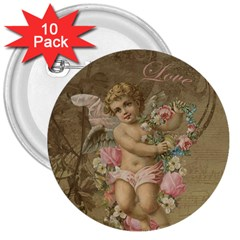 Cupid   Vintage 3  Buttons (10 Pack)  by Valentinaart