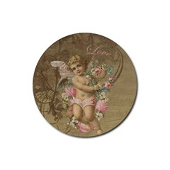 Cupid   Vintage Rubber Round Coaster (4 Pack)  by Valentinaart
