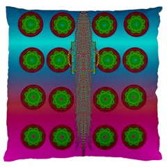 Meditative Abstract Temple Of Love And Meditation Large Cushion Case (two Sides) by pepitasart