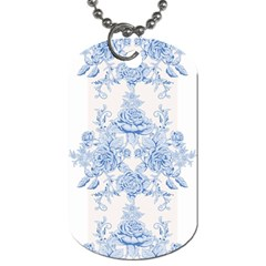 Beautiful,pale Blue,floral,shabby Chic,pattern Dog Tag (one Side) by 8fugoso