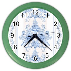 Beautiful,pale Blue,floral,shabby Chic,pattern Color Wall Clocks by 8fugoso