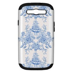 Beautiful,pale Blue,floral,shabby Chic,pattern Samsung Galaxy S Iii Hardshell Case (pc+silicone) by 8fugoso