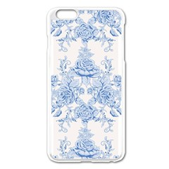 Beautiful,pale Blue,floral,shabby Chic,pattern Apple Iphone 6 Plus/6s Plus Enamel White Case by 8fugoso