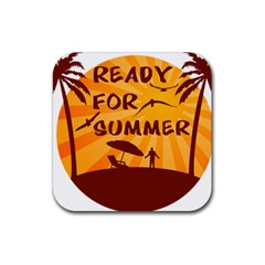 Ready For Summer Rubber Square Coaster (4 Pack)  by Melcu