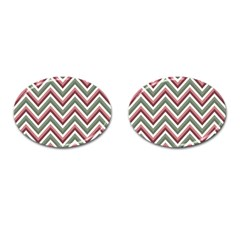Chevron Blue Pink Cufflinks (oval) by vintage2030
