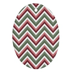 Chevron Blue Pink Oval Ornament (two Sides) by vintage2030