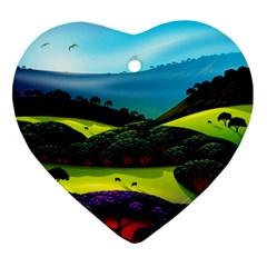 Morning Mist Ornament (heart) by ValleyDreams