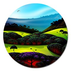Morning Mist Magnet 5  (round) by ValleyDreams