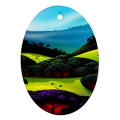 Morning Mist Oval Ornament (two Sides) by ValleyDreams