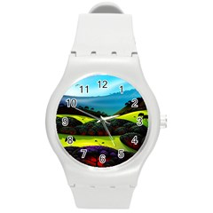Morning Mist Round Plastic Sport Watch (m) by ValleyDreams