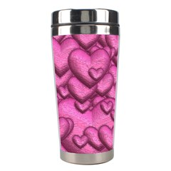 Shimmering Hearts Pink Stainless Steel Travel Tumblers by MoreColorsinLife