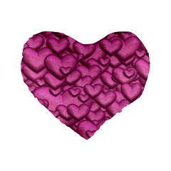 Shimmering Hearts Pink Standard 16  Premium Flano Heart Shape Cushions by MoreColorsinLife