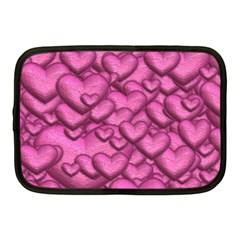 Shimmering Hearts Pink Netbook Case (medium)  by MoreColorsinLife