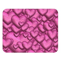 Shimmering Hearts Pink Double Sided Flano Blanket (large)  by MoreColorsinLife