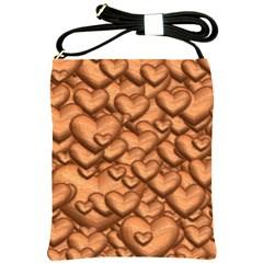 Shimmering Hearts Peach Shoulder Sling Bags by MoreColorsinLife