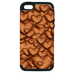 Shimmering Hearts Peach Apple Iphone 5 Hardshell Case (pc+silicone) by MoreColorsinLife